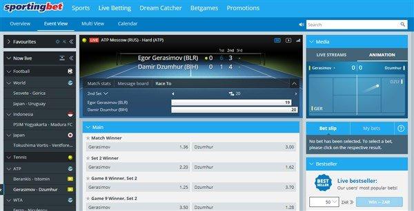 sportingbet live betting screen shot