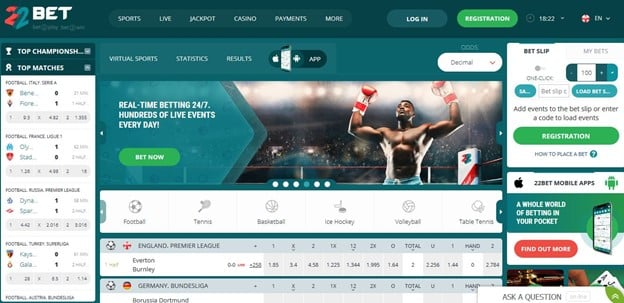 22bet south africa home page