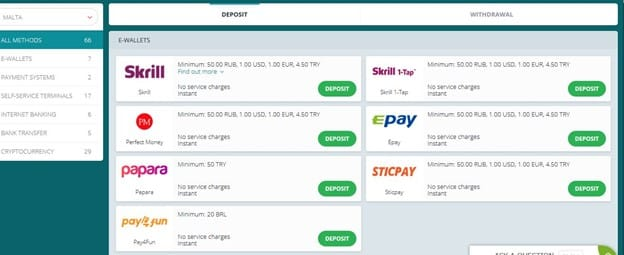 22bet south africa withdrawal options