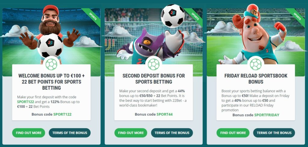 22bet sportsbook bonuses and promotions
