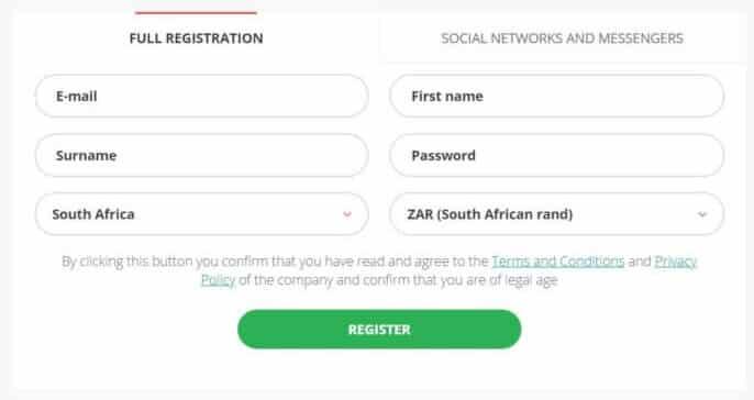22bet registration form