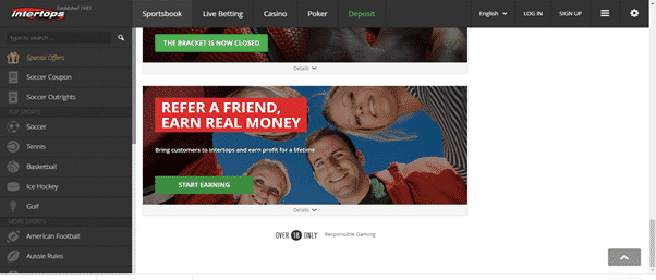 Intertops refer a friend promotion
