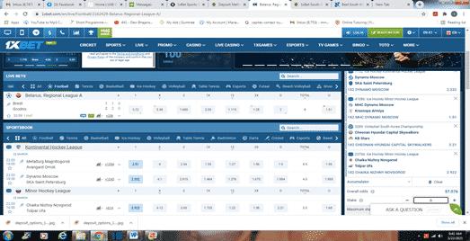 1xbet South Afrcia betting slip desktop