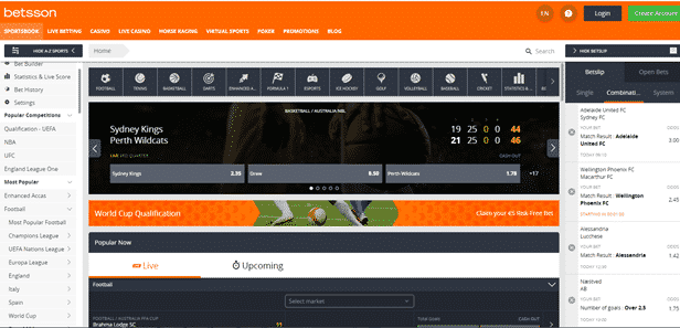 Betsson South Africa home interface experience