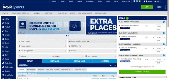 Boylesports Dasktop user interface South Africa