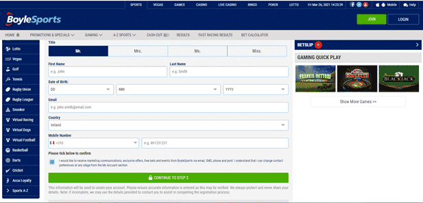Boylesports South Africa Registration form