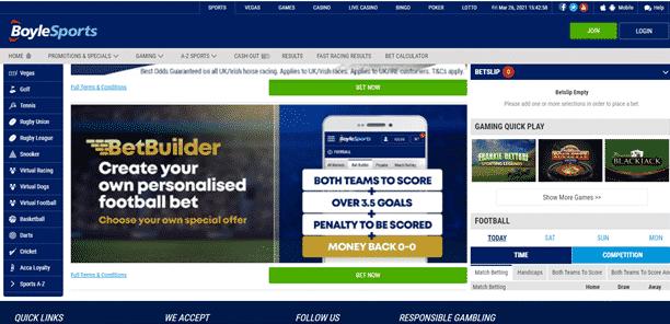 Boylesports South Africa sports betting interface