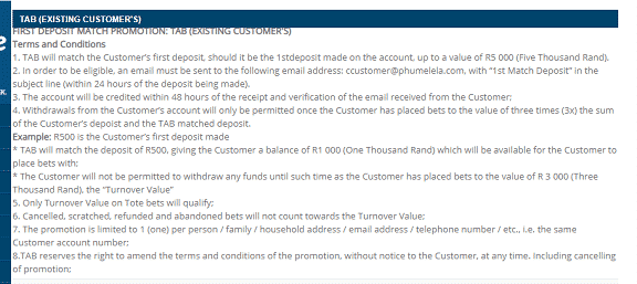 Bonuses and promotions terms and conditions Tabonline South Africa