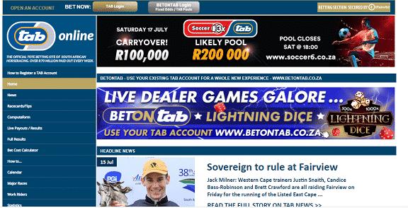 Tabonline homepage South Africa
